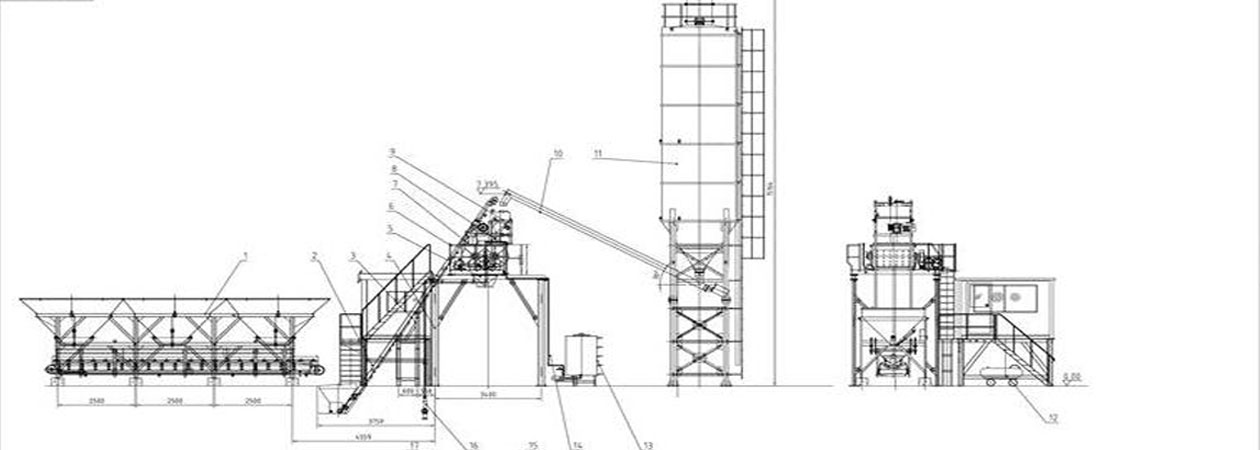 the drawings and settlement of hzs25 small concrete batch plant